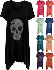 New Plus Size Womens Skull Sequin Stud Short Sleeve Ladies Hanky Hem Top