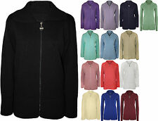 New Womens Plus Size Plain Zip Collar Jumper Top Ladies Knitted Cardigan