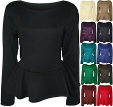 New Womens Plus Size Plain Long Sleeve Flared Ladies Peplum Frill Top