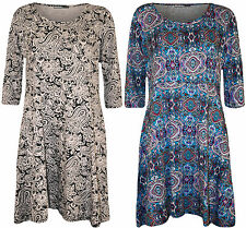 New Plus Size Womens Print 3/4 Sleeve Belted Ladies Long Top Short Dress