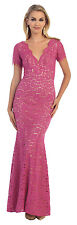 Modest Mother of the Bride Long Cap Sleeve Plus Size Formal Evening Dress