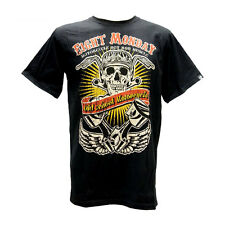 AU New Men Black T-shirt Cotton Vintage Hot Rod Rider Muscle Skull Biker XL