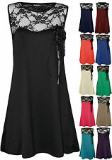 New Plus Size Womens Lace Flower Brooch Corsage Ladies Sleeveless Vest Top