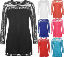 Plus Womens Lace Lined Sheer Long Sleeve Stretch Round Neck Tunic Ladies Top