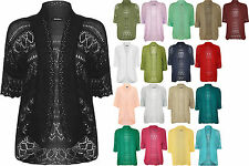 New Womens Plus Knitted Crochet Short Sleeve Top Shrug Ladies Open Cardigan