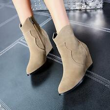 Stylish Ladies Faux Suede Pointy toe Hidden Wedge Med-heels Side Zip Ankle Boots