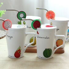 Cartoon Ceramic Cup Fruits Mug Office Home Milk Coffee Tea Cup With Cover Straw