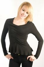 Parasuco Black Gathered LF7T043 Scoop Neck Long Sleeve Ruffle Shirt $75.00 CAD