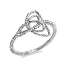 Fine 14k White Gold Rope Triquetra Celtic Knot Ring
