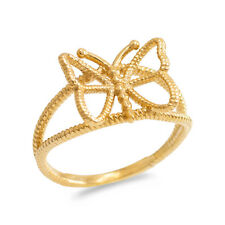 Fine 14k Yellow Gold Open Design Butterfly Rope Band Ring