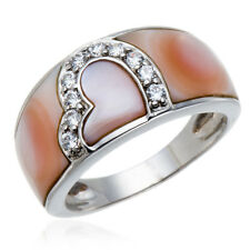 ROMANTIC HEART RING PINK MOTHER OF PEARL & CUBIC ZIRCONIA 925 STERLING SILVER