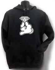 "NW MEN'S ""DIAMOND WITH GLOVE HAND"" FUNNY HIPSTER PULLOVER FLEECE HOODIE ALL SZ"