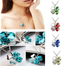 Charm Women Four Leaf Clover Heart Crystal Chain Pendant Necklace Jewelry