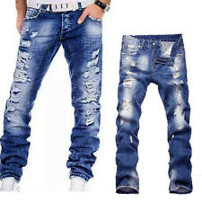 Men's Leisure Classical Destroyed Washed Denim Ripped Hole Jeans Pants Trousers