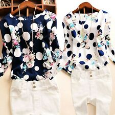 Vogue Women Polka Dot Floral Casual OL Slim  Long Sleeve Round Neck Top Blouse