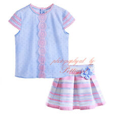 Kids Girls Set Flower T-shirt + Striped Skirt Princess Summer Clothing Outfits