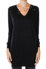 PINKO Tag New Woman Black Beads V neck Sweater Jumper Long sleeve NWT