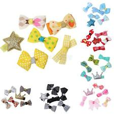6Pcs/Set Baby Girl Bow Flower Hair Clips Hairpin Grosgrain Ribbon Aligator Clips