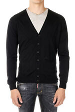 DSQUARED2 Dsquared² New Men black Cardigan wool Silk Long sleeve Tee Made Italy