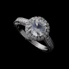 Platinum Faceted Moonstone Double Halo Diamonds Hand Engraved Engagement Ring