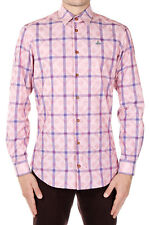 VIVIENNE WESTWOOD LONDON Men Pnk Checked Cotton Shirt Made in Italy