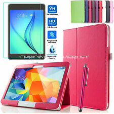 "Smart Leather Stand Case Cover For Samsung Galaxy Tab A 9.7"" SM-T550 + TEMPERED"