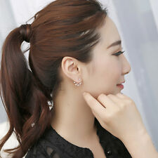 New Women Crystal Leaf Ear Jacket Earrings Gold Plated Back Cuff Stud Earring J