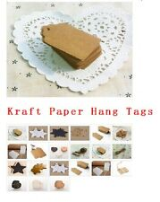 100 Pcs BLANK Brown Kraft Paper Hang Tags w/String Punch Label Price Gift Cards