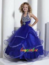 Flower Girl formal Bridesmaid  girl's wedding dress Party royal blue Christmas 2