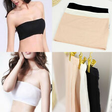 Popular Solid Bandeau Seamless Bra Tube Tank Top Strapless Stretch One Size