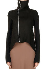 RICK OWENS LILIES Woman NASKA Leather and Fabric Biker Jacket Made in Italy