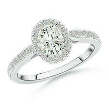 Classic Oval Cut Solitaire Moissanite Halo Engagement Ring 14k White Gold size 7