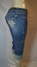 LA IDOL JEANS CRYSTAL CROSS BLING DESIGN CAPRI  ALL SIZES 3808 CP