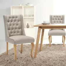 Upholstered Linen Fabric Dining Chairs Accent Side Chair Beige / Blue-green G2Z4