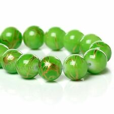 Green Gold Wholesale 10mm Round Drawbench Glass Beads G6678 - 75, 150 Or 300PCs