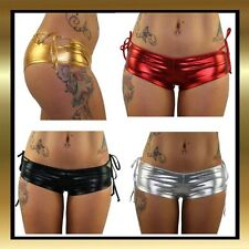 Wet Look Metallic Tie Pole Dancing/Dance Hot Pants Booty Shorts by Juicee Peach
