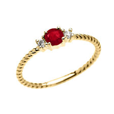 14k Yellow Gold Dainty Solitaire Ruby & White Topaz Rope Promise Stackable Ring