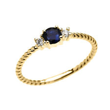 10k Yellow Gold Dainty Solitaire Sapphire & White Topaz Rope Stackable Ring