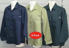 PACK OF 4 SHIRTS -  HARD WEAR MENS DRILL WORK SHIRTS LONG SLEEVE SHIRTS