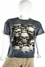 Skulbone Gray Black Grey Stacked Skulls Crypt Short Sleeve T Shirt $20.80 CAD