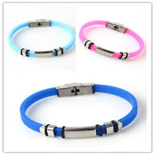 2pcs New Mixed Color Smooth Connector Silicone Bracelets Wristband Iron Buckle D