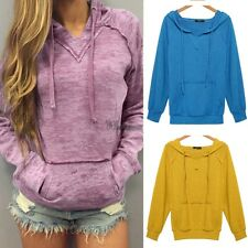 Women Long Sleeve Sweats V-Notch Hoodies Burnout Yellow Pink Leisure Loose WT88