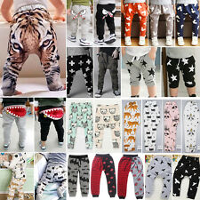 NEW Boys Girls Kids Cartoon Print Sweatpants Slacks Harem Trousers Pants Bottoms
