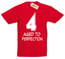 4 Aged Perfection T-Shirt, 4th Birthday Gifts Presents for 4 Year Old Boys Girls