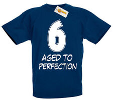 6 Aged Perfection T-Shirt, 6th Birthday Gifts Presents for 6 Year Old Boys Girls