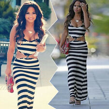 Fashion Women Sleeveless Bohemia Striped Low-Cut Summer Sexy Beach Long Dress