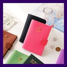 Faux Leather Protect Skimming Passport Holder Case Cover - Ribbon