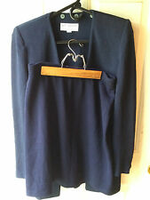 St. John Santana knit navy blue 2pc blazer jacket skirt suit set 2 4 small XS