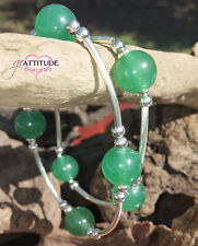 Sterling Silver and Green Jade Gemstone Bead grATTITUDE and Blessings Bracelet