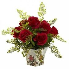 Nearly Natural Rose and Maiden Hair with Floral Planter. Delivery is Free
